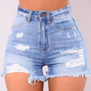 Fashion Nova Distressed High Waisted Jean Shorts